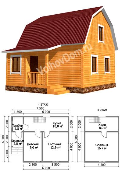 Схема дома из бруса 6