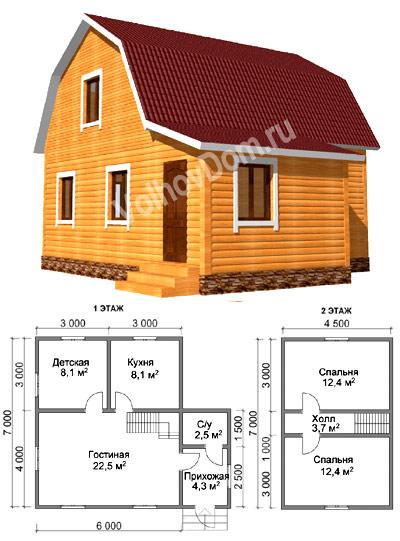 Проекты домов из бруса 6х8 фото