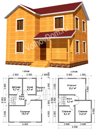 Проект двухэтажного таунхауса 115 квм на две семьи